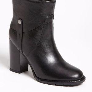 Franco Sarto Occela Black Leather Heeled Boots 9M
